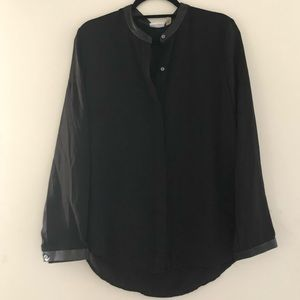 DKNY Button Down Blouse With Faux Leather Trim